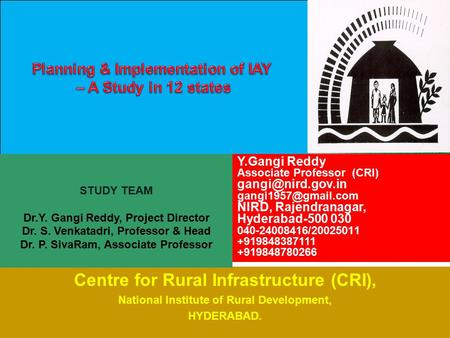 Centre for Rural Infrastructure (CRI),