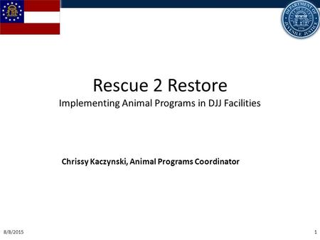 8/8/20151 Rescue 2 Restore Implementing Animal Programs in DJJ Facilities Chrissy Kaczynski, Animal Programs Coordinator.