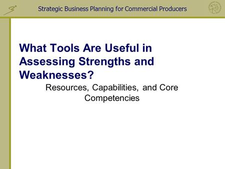 What Tools Are Useful in Assessing Strengths and Weaknesses?