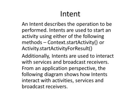 Intent An Intent describes the operation to be performed. Intents are used to start an activity using either of the following methods – Context.startActivity()