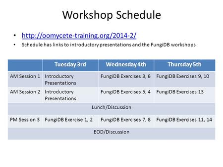 Workshop Schedule  Schedule has links to introductory presentations and the FungiDB workshops Tuesday 3rdWednesday.
