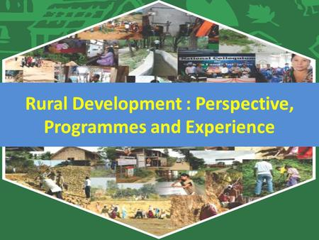 Rural Development : Perspective, Programmes and Experience.