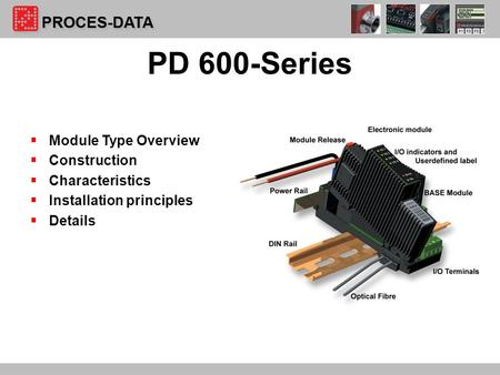 1  Module Type Overview  Construction  Characteristics  Installation principles  Details PD 600-Series.