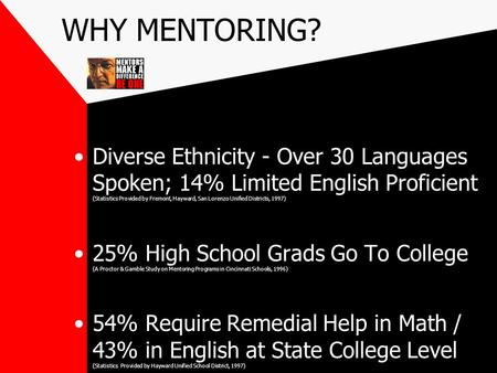 WHY MENTORING? Diverse Ethnicity - Over 30 Languages Spoken; 14% Limited English Proficient (Statistics Provided by Fremont, Hayward, San Lorenzo Unified.