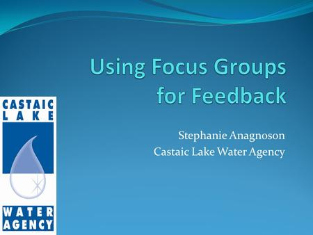 Stephanie Anagnoson Castaic Lake Water Agency. Outline Types of Market Feedback Structure of a Focus Group CLWA Focus Groups.