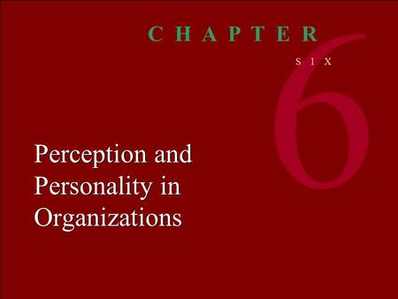 Organizational BEHAVIOR M C SHANEV ON GLINOW 1 © The McGraw-Hill Companies, Inc. 2000 Irwin/ McGraw-Hill Perception and Personality in Organizations 6.