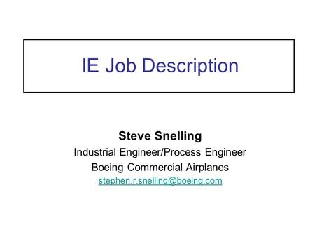 Industrial Engineering Roles In Industry - Ppt Video Online Download