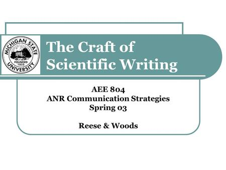 the craft of scientific writing pdf
