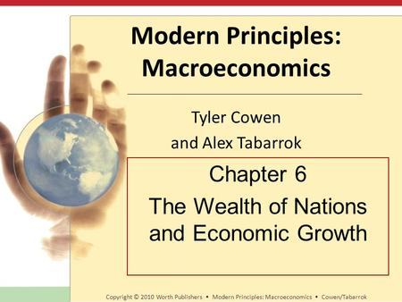 Modern Principles: Macroeconomics Tyler Cowen and Alex Tabarrok Copyright © 2010 Worth Publishers Modern Principles: Macroeconomics Cowen/Tabarrok Chapter.