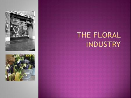  Floral industry: a collective term for the people and business entities engaged in the production, promotion, and sale of floral products and related.