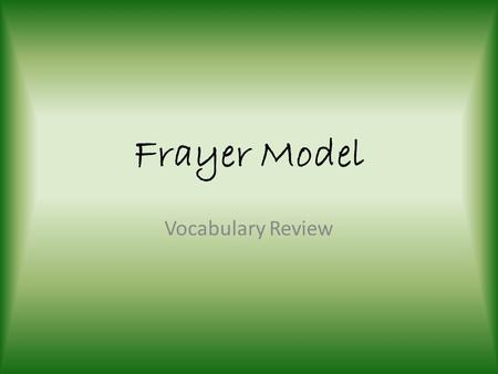 Frayer Model Vocabulary Review.