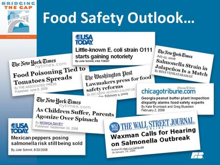 Food Safety Outlook…. FOOD SAFETY & PROTECTION THE CURRENT FRAMEWORK OF THE U.S. FOOD SAFETY & PROTECTION SYSTEM OTHER GROUPS & ORGANIZATIONS WITH INTEREST.