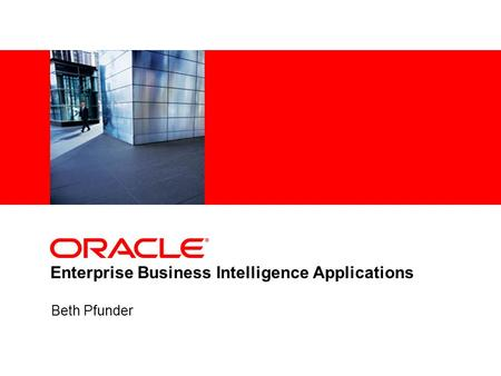 Enterprise Business Intelligence Applications
