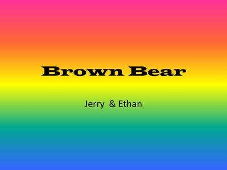 Brown Bear Jerry & Ethan.
