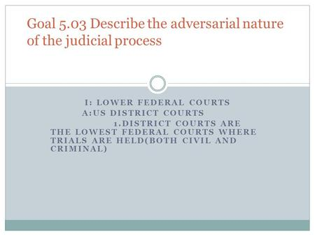 I: LOWER FEDERAL COURTS A:US DISTRICT COURTS 1.DISTRICT COURTS ARE THE LOWEST FEDERAL COURTS WHERE TRIALS ARE HELD(BOTH CIVIL AND CRIMINAL) Goal 5.03 Describe.
