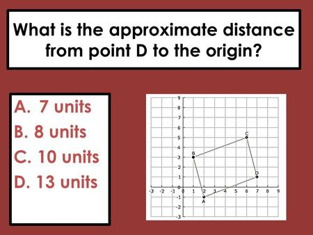 What is the approximate distance from point D to the origin?