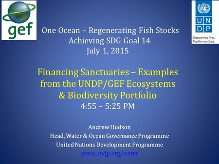 One Ocean – Regenerating Fish Stocks Achieving SDG Goal 14 July 1, 2015 Financing Sanctuaries – Examples from the UNDP/GEF Ecosystems & Biodiversity Portfolio.