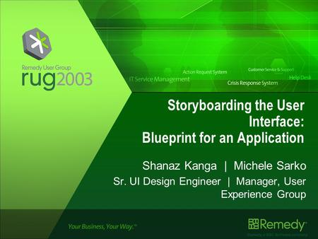 Remedy, a BMC Software company Storyboarding the User Interface: Blueprint for an Application Shanaz Kanga | Michele Sarko Sr. UI Design Engineer | Manager,