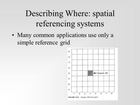 Describing Where: spatial referencing systems Many common applications use only a simple reference grid.