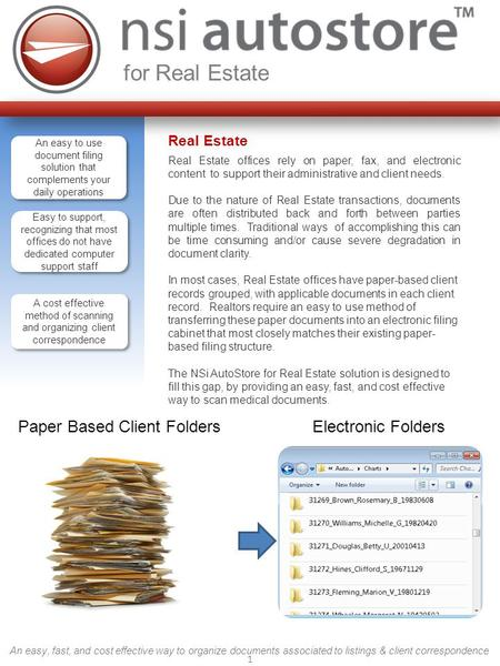 1 for Real Estate An easy, fast, and cost effective way to organize documents associated to listings & client correspondence Real Estate Real Estate offices.