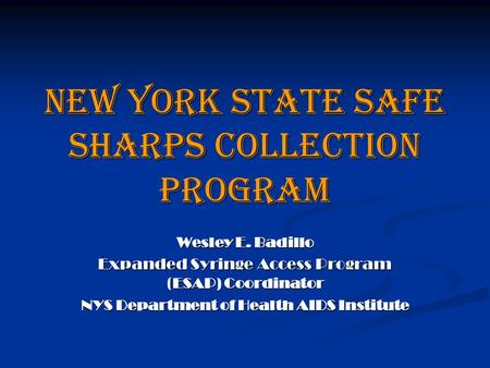 New York State Safe Sharps Collection Program