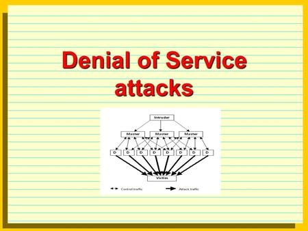 Denial of Service attacks. Types of DoS attacks Bandwidth consumption attackers have more bandwidth than victim, e.g T3 (45Mpbs) attacks T1 (1.544 Mbps).
