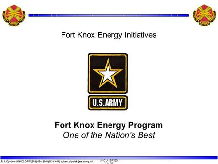 Trane's DOE GHP Super ESPC Fort Knox Energy Program