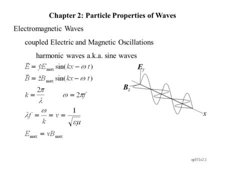 Cp351c2:1 EyEy BzBz x Chapter 2: Particle Properties of Waves Electromagnetic Waves coupled Electric and Magnetic Oscillations harmonic waves a.k.a. sine.