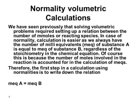 Normality volumetric Calculations