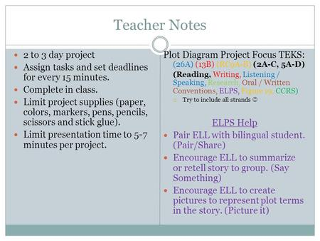 Teacher Notes 2 to 3 day project Assign tasks and set deadlines for every 15 minutes. Complete in class. Limit project supplies (paper, colors, markers,