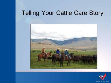 Telling Your Cattle Care Story. Why is telling our cattle care story so important? The basics of our story Examples of how I've told my story Ways to.