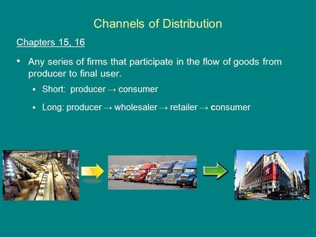 Channels of Distribution Chapters 15, 16 Any series of firms that participate in the flow of goods from producer to final user.  Short: producer → consumer.