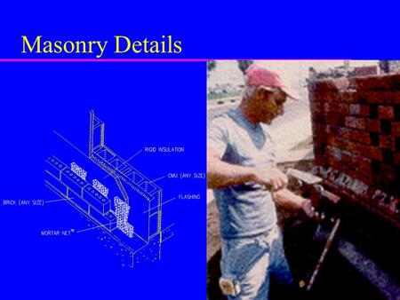 Masonry Details. Masonry Categories u Clay Masonry –made of burned clay, shale, fire clay or combo –shaped in plastic state –fired in kiln at high temperatures.