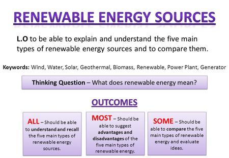 L.O to be able to explain and understand the five main types of renewable energy sources and to compare them. Thinking Question – What does renewable energy.