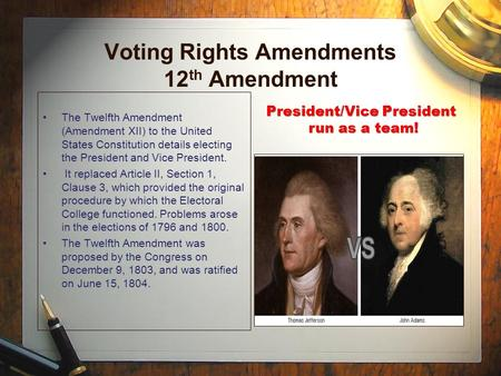 President/Vice President run as a team! Voting Rights Amendments 12 th Amendment The Twelfth Amendment (Amendment XII) to the United States Constitution.