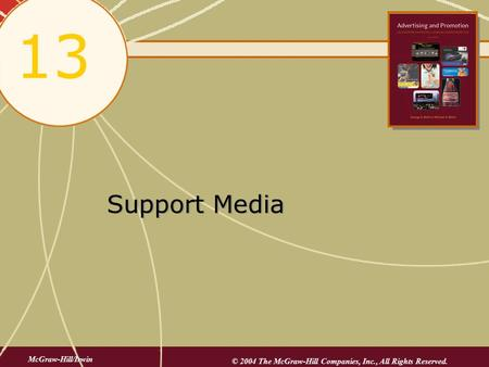 Support Media 13 McGraw-Hill/Irwin © 2004 The McGraw-Hill Companies, Inc., All Rights Reserved.