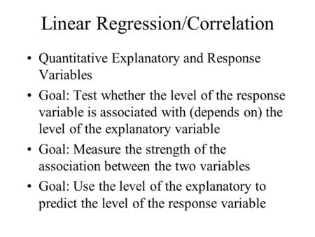 Linear Regression/Correlation