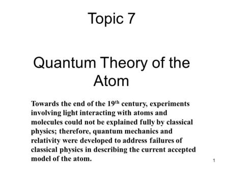 Quantum <strong>Theory</strong> of the Atom