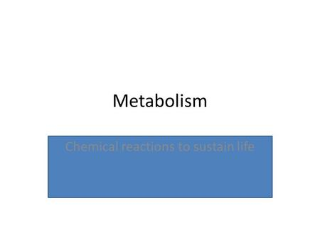 "Metabolism Chemical reactions to sustain life. Metabolism Example Potato= cellulose (cell walls) + starch (energy) ""carbs"" Catabolism—the potato (cellulose."