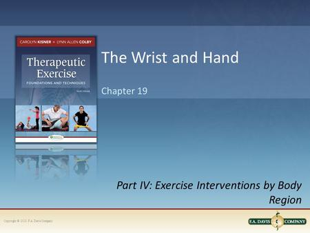 Copyright © 2013. F.A. Davis Company Part IV: Exercise Interventions by Body Region Chapter 19 The Wrist and Hand.