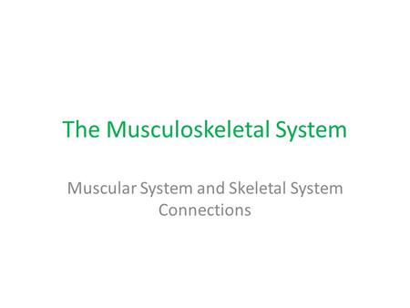 The Musculoskeletal System Muscular System and Skeletal System Connections.