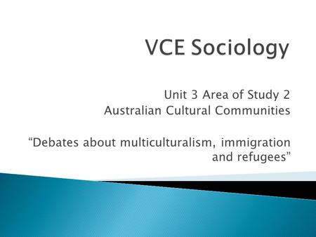 "Unit 3 Area of Study 2 Australian Cultural Communities ""Debates about multiculturalism, immigration and refugees"""
