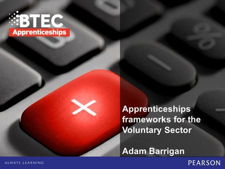 Apprenticeships frameworks for the Voluntary Sector Adam Barrigan.