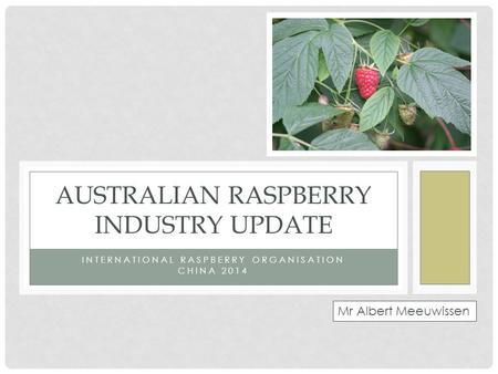 INTERNATIONAL RASPBERRY ORGANISATION CHINA 2014 AUSTRALIAN RASPBERRY INDUSTRY UPDATE Mr Albert Meeuwissen.