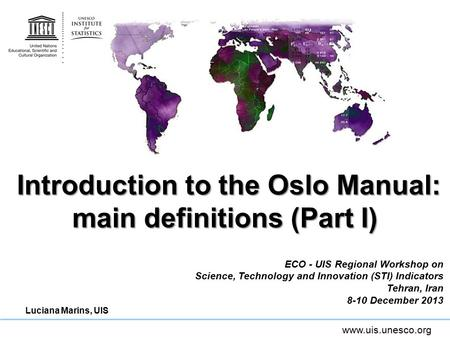 Introduction to the Oslo Manual: main definitions (Part I)
