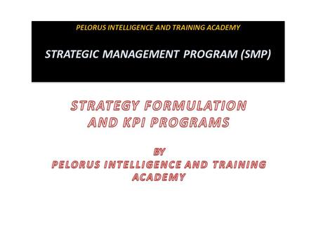 PELORUS INTELLIGENCE AND TRAINING ACADEMY STRATEGIC MANAGEMENT PROGRAM (SMP) PELORUS INTELLIGENCE AND TRAINING ACADEMY STRATEGIC MANAGEMENT PROGRAM (SMP)