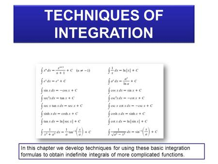 TECHNIQUES OF INTEGRATION TECHNIQUES OF INTEGRATION In this chapter we develop techniques for using these basic integration formulas to obtain indefinite.