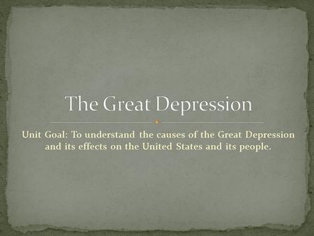 the causes and effects of the great depression in the united states The lingering effects of world war i (1914-1918) caused economic problems in many countries, as europe struggled to pay war debts and reparations these problems contributed to the crisis that began the great depression america's  great depression began with the dramatic crash of the stock market.