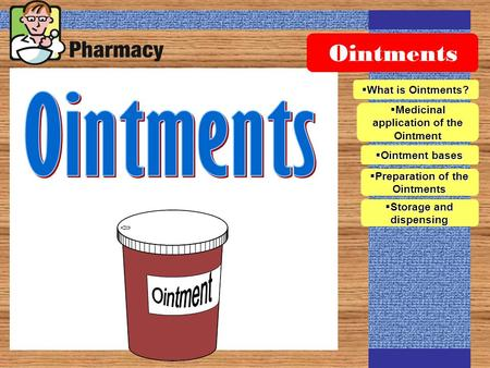 Ointments  What is Ointments?  Medicinal application of the Ointment  Ointment bases  Preparation of the Ointments  Storage and dispensing.