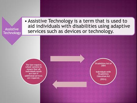 Assistive Technology Assistive Technology is a term that is used to aid individuals with disabilities using adaptive services such as devices or technology.